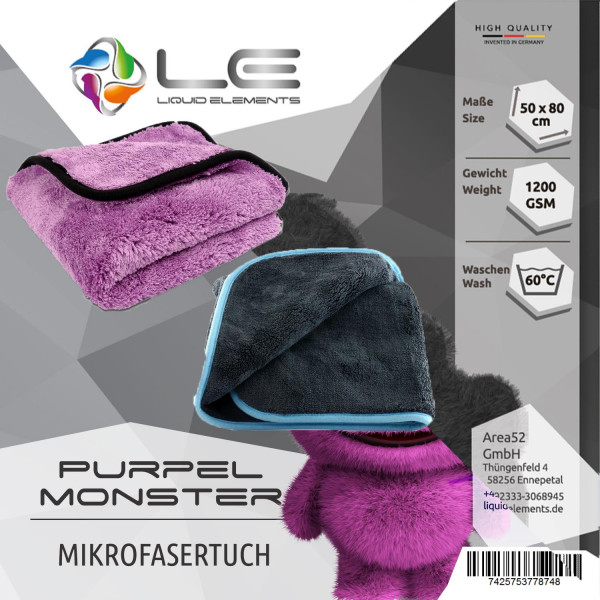 Liquid Elements Silverback XL + Purple Monster Mikrofaser Tuch Set trocknen polieren