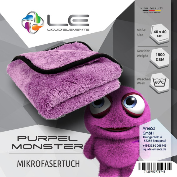 Liquid Elements Purple Monster Mikrofaser Tuch 1800 GSM polieren trocknen wachsen