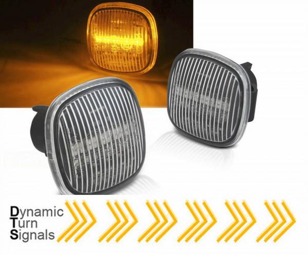 Dynamische LED Seitenblinker Set weiß für Audi A3 8L A4 B5 Skoda Fabia Ocativa