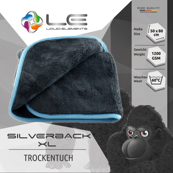 Liquid Elements Trockentuch Mikrofaser - Silverback XL - Sehr dick