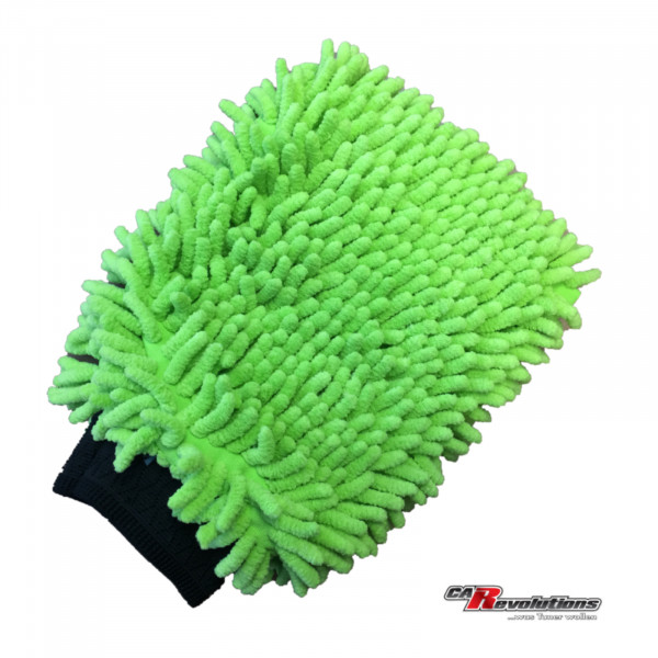 CR Waschhandschuh Grün Plush Chenille Microfaser XL - schonendwaschen