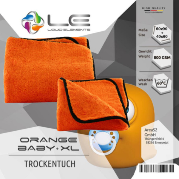 Liquid Elements Orange Baby und XL Trockentuch 90x60 + 60x40 cm Set Mikrofaser