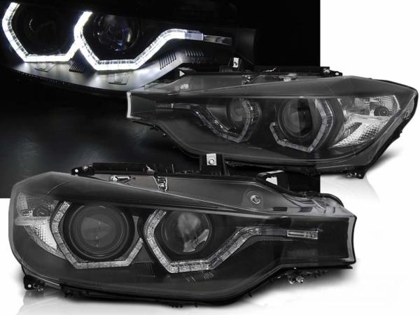 Für BMW F30/F31 LCI ab 2015 LED Tagfahrlicht Scheinwerfer U-Design in schwarz