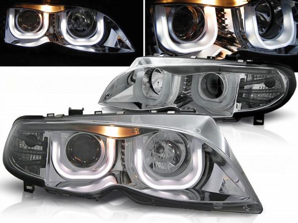 Angel Eyes 3D Scheinwerfer für BMW 3er E46 Limo/Touring Bj. 02-05 chrom